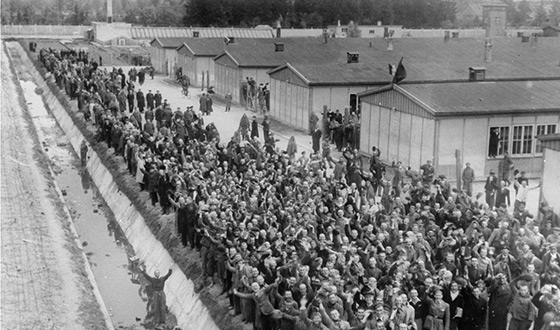 A large crowd of jubilant prisoners gathers at the camp fence in front of the water ditch to welcome their liberators (USHMM)