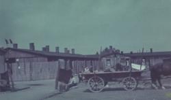 Links: Die Bordell·baracke. Rechts: Die Desinfektions·baracke. Das Foto ist von Mai 1945. (KZ-Gedenk·stätte Dachau)