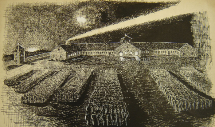 The drawing depicts a nighttime roll call. Lined up in strictly ordered columns, the prisoners are standing on the large rectangular roll call area. The sky is illuminated by bright searchlights.