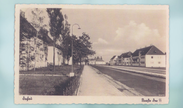 The postcard shows a broad street, flanked on both sides by villas. The row of houses on the left has small lawns and trees.
