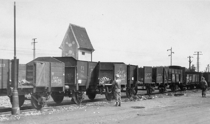 The photo shows a stationary train with uncovered goods wagons. All the doors are open and corpses can be seen in some of the wagons. An American soldier stands in front of the train and looks at the horrific discovery.