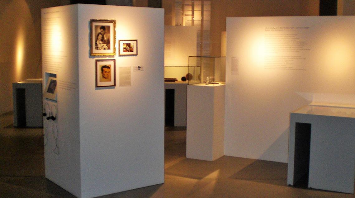 Blick in den schwach erleuchteten Ausstellungsraum. Zu sehen sind einige Vitrinen in der Raummitte sowie Stellwände mit Bildern und erklärenden Texten.