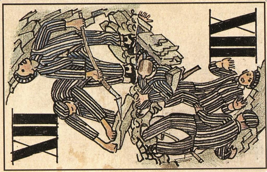 Kolorierte Tarock-Karte von Boris Kobe mit der Darstellung von Häftlingen bei der Zwangsarbeit. Einige haben Werkzeuge bei sich, ein Häftling ist unter einigen Steinen eingeklemmt.