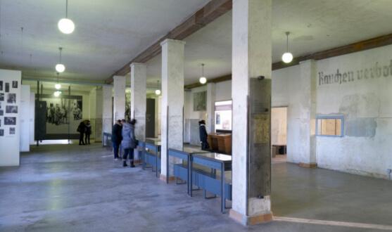 Großer Raum, der durch Säulen und Ausstellungsvitrinen in der Mitte geteilt ist.