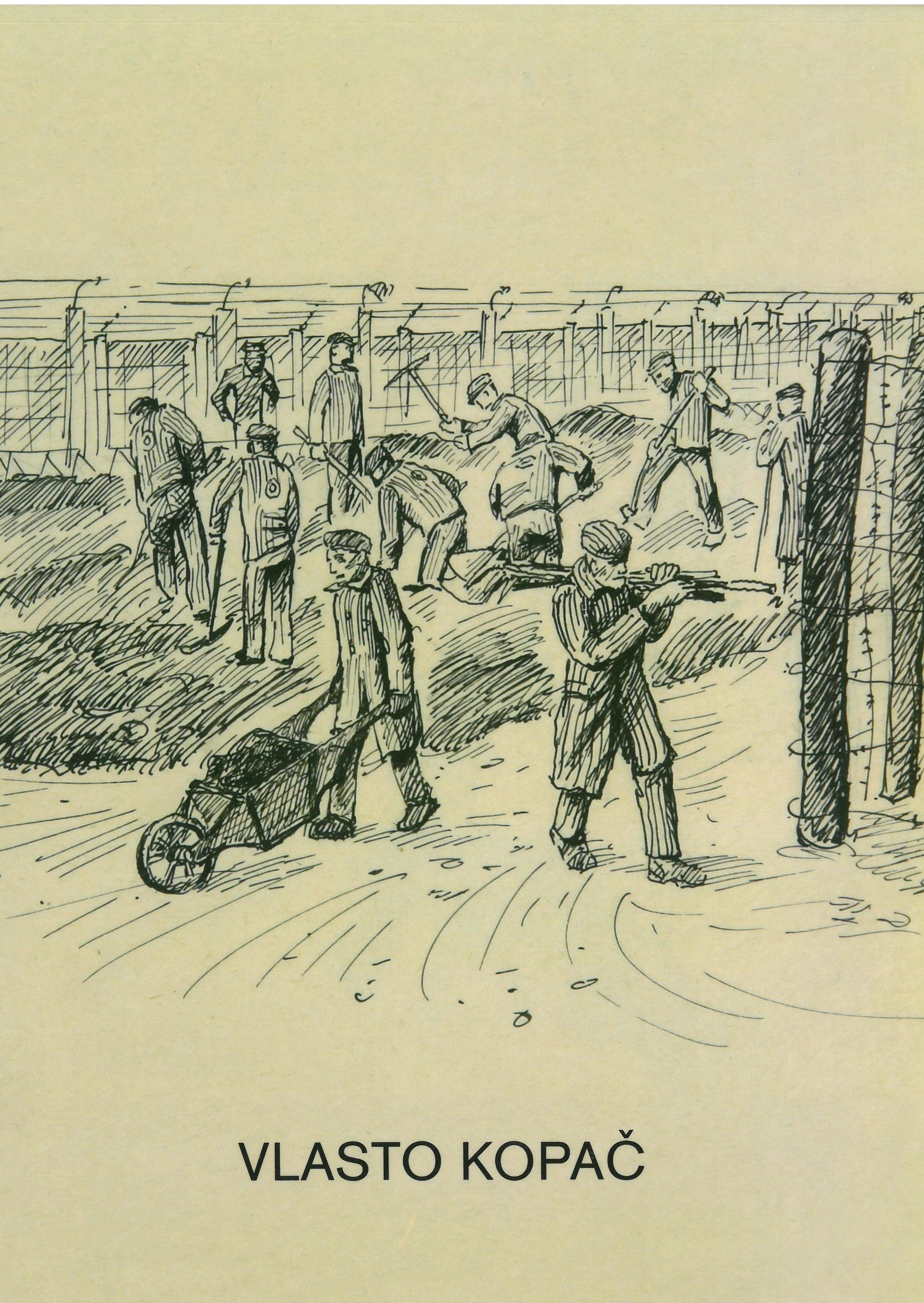 """Cover des Ausstellungskatalogs """"Blickwechsel – Vlasto Kopac zeichnet das Konzentrationslager Dachau (1944-1945)"""", auf dem eine Zeichnung von Häftlingen bei schweren Bauarbeiten zu sehen ist. Umgeben sind die Zwangsarbeiter von Stacheldraht-Zäunen."""