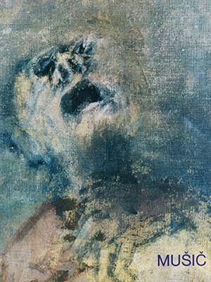 """Cover des Ausstellungskatalogs """"Music und Dachau – Zeichnungen, Gemälde, Grafiken"""" mit einem düsteren Gemälde eines leidenden Häftlings von Anton Zoran Music"""
