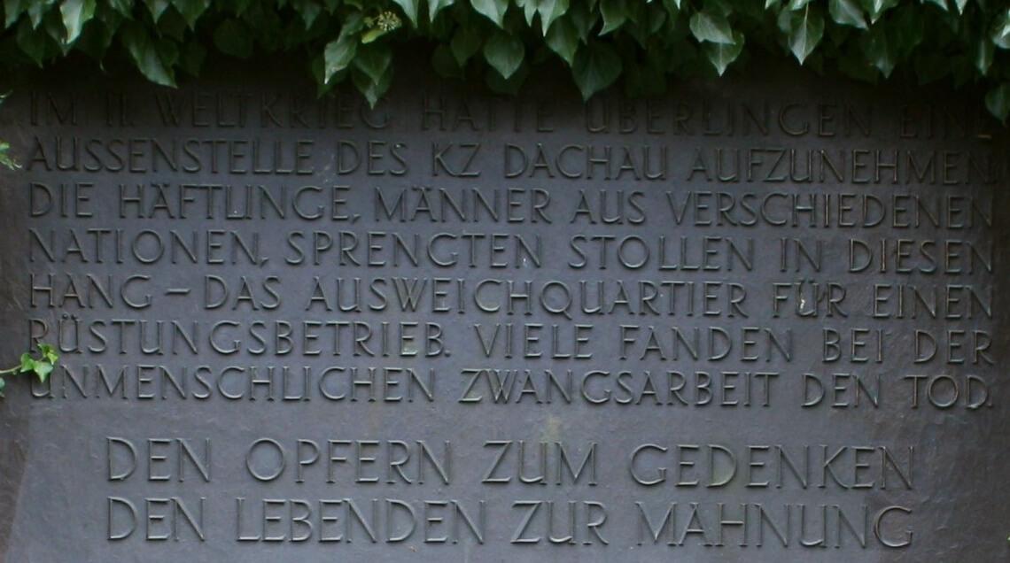Gedenktafel am Goldbacher Stollen in Überlingen