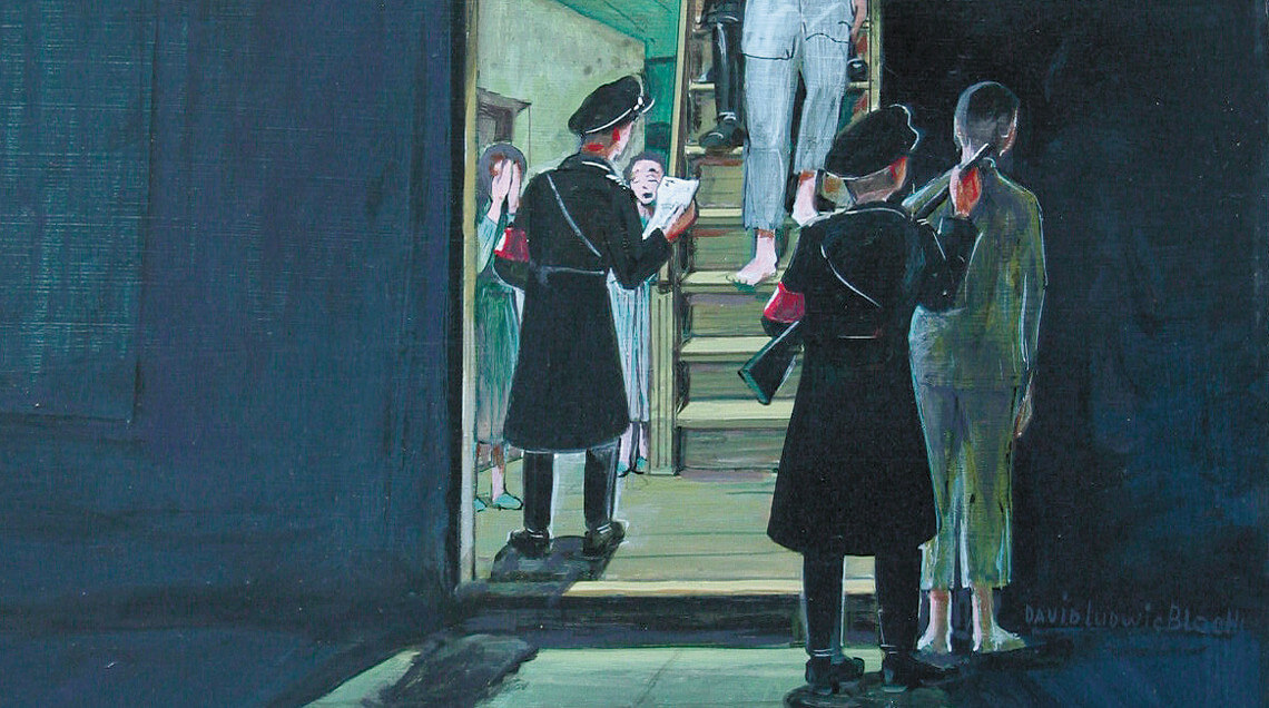"Acrylgemälde ""Knock at midnight"" [Klopfen um Mitternacht] von David Ludwig Bloch (1977)"