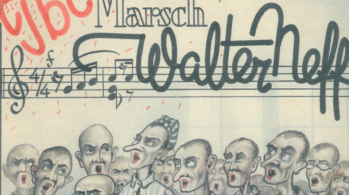 Deckblatt der Partitur des TBC-Marches zu Ehren des Häftlings Walter Neff, der Pfleger auf dem Krankenrevier war