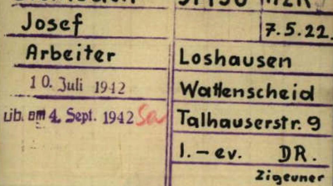 Schreibstubenkarte des Sinto Josef Steinbach aus dem KZ Dachau