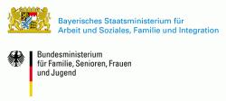 Logo des Bayerischen Staatsministerium für Arbeit und Soziales, Familie und Integration sowie Logo des Bundesministerium für Familie, Senioren, Frauen und Jugend.