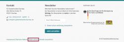 Screenshot Fußzeile mit markiertem Bereich zum Datenschutz.