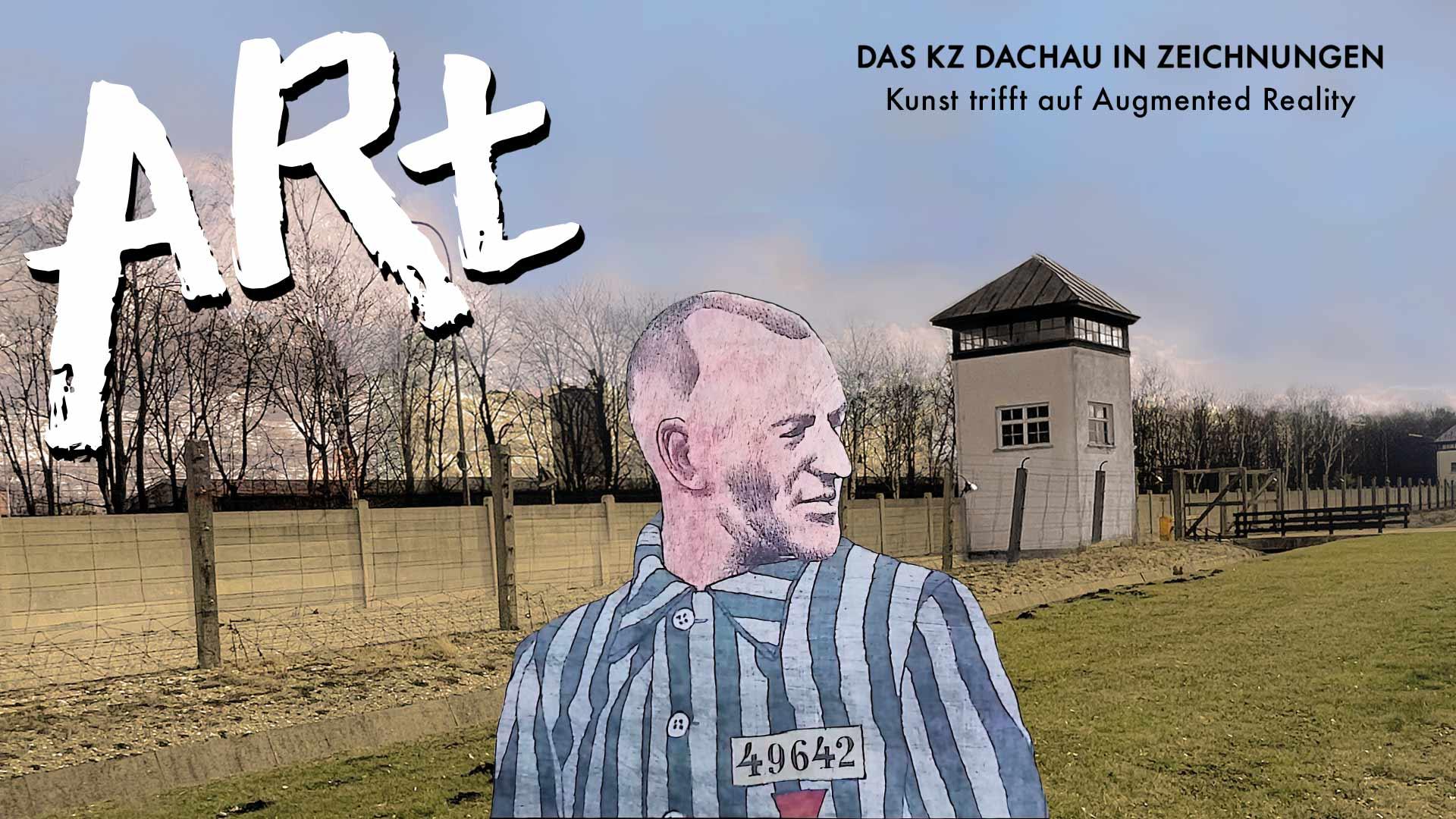 Das Logo von ARt, ein KZ-Häftling in AR vor dem Gelände der KZ-Gedenkstätte